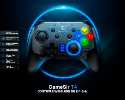 Controle Gamesir T4 2.4 Ghz Wireless Para Windows PC (Steam) / Android TV / Nintendo Switch