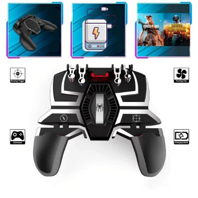 Controle Spider X Gamepad Com 4 Gatilhos L1-R1 / L2-R2 Cooler Bateria Android / iOS PUBG