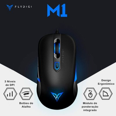 Mouse Flydigi M1 Gamer Preto Windows PC e Jogo Mobile PUBG