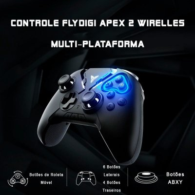 Controle Flydigi Apex 2 RGB Bluetooth Android / iOS / Tablet / TV Box / Windows PC / Steam / PUBG / COD / MOBA