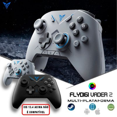 Controle Flydigi Vader 2 RGB Bluetooth Android / iOS / Windows PC / Steam / TV Box / PUBG / COD / PES / Free Fire