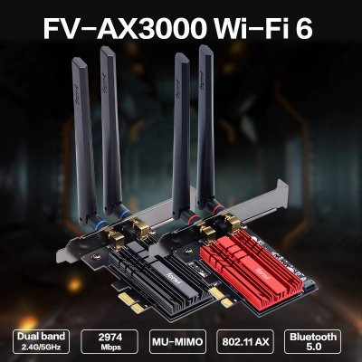 Placa De Rede FENVI FV-AX3000 Wireless Intel Ax200 Wifi 6 Ax Bluetooth 5.0 PCIe X1 Dual Band