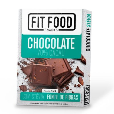 Chocolate 70% Cacau (com Stevia) 40g - Fit Food
