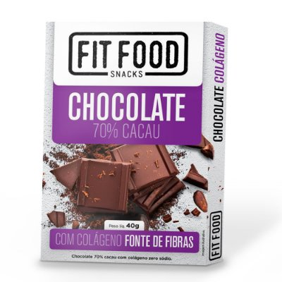Chocolate 70% Cacau (com Colágeno) 40g - Fit Food