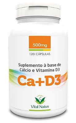 Cálcio e Vitamina D3 - 120 Cápsulas (500mg) - Vital Natus