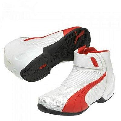 Bota Puma Flat 2 V2 Branca Vermelha