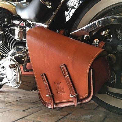 Bolsa lateral Solo bag extra grande linha Softail em couro