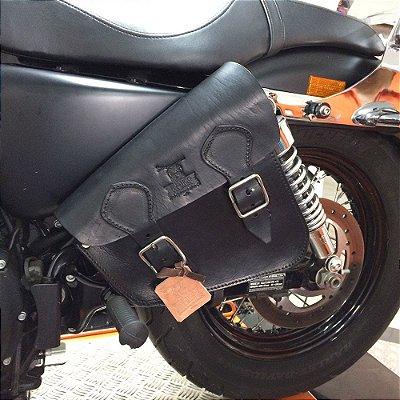 Bolsa lateral Solo bag para linha Sportster em couro Preto
