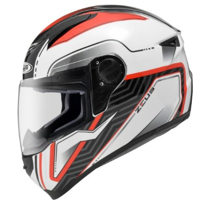 Capacete Zeus 811 SOLID WHITE AL16 RED