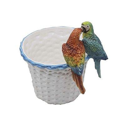 Cachepot cestaria com casal de araras punta cana