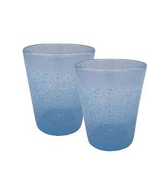 Copo baixo bolhas azul