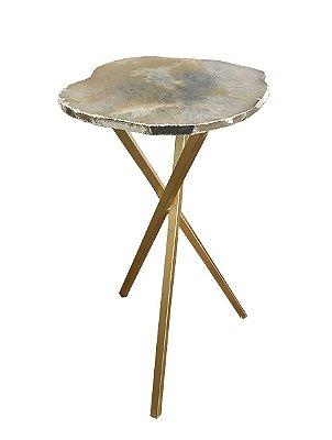 Mesa de apoio quartzo cristalizado com prata