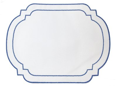 Jogo americano moldura branco e azul