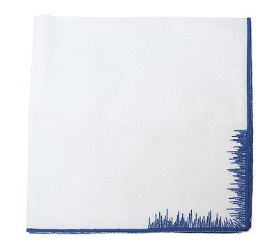 Guardanapo pincelado branco e azul
