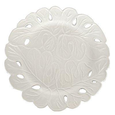 Prato raso bordado branco