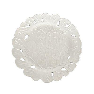 Prato sobremesa bordado branco