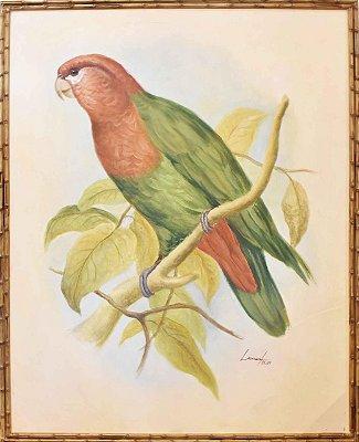 Quadro lona pintada a óleo pássaro 6