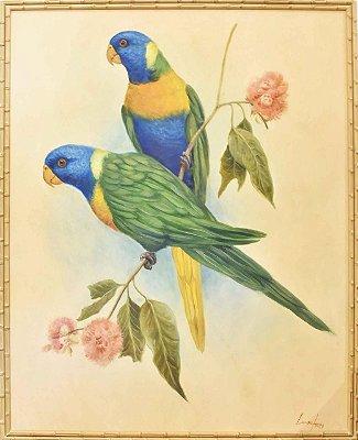 Quadro lona pintada a óleo dois pássaros 3