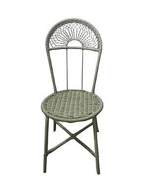 Cadeira ferro e junco celadon
