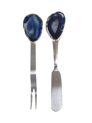 Jogo espátula e garfo aperitivo ágata azul