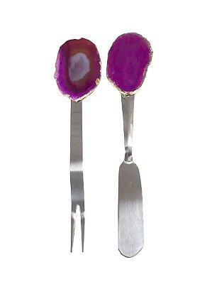 Jogo espátula e garfo aperitivo ágata pink
