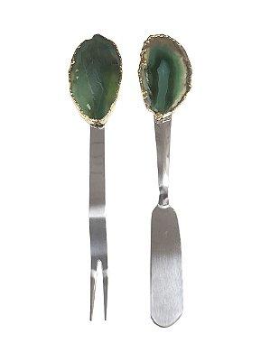Jogo espátula e garfo aperitivo ágata verde