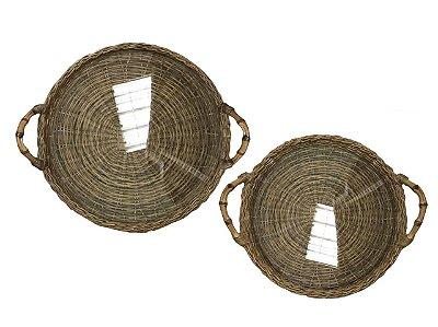 Jogo bandejas redondas junco com alça de bambu e vidro