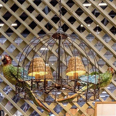 Lustre Gaiola com Papagaios Coloridos