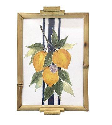 Bandeja bambu aquarela limão siciliano 18 x 24 cm