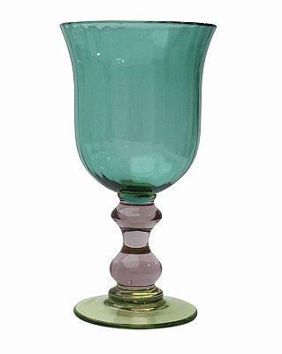 Taça Verde com pé colorido(cj com 6)