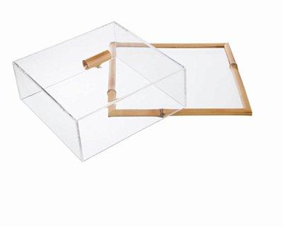 Porta frios Quadrado  com tampa de acrílico e bambu