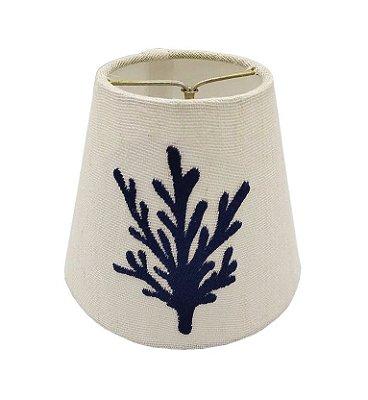 Mini cúpula de linho bordada coral azul