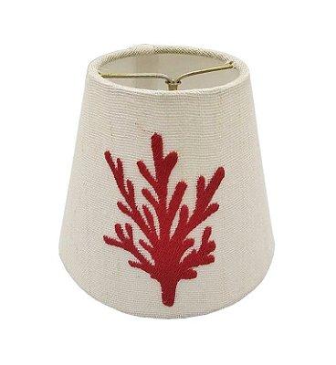 Mini cúpula de linho bordada coral vermelho