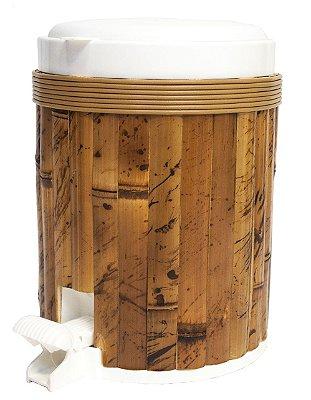 Lixeira com pedal revestida bambu