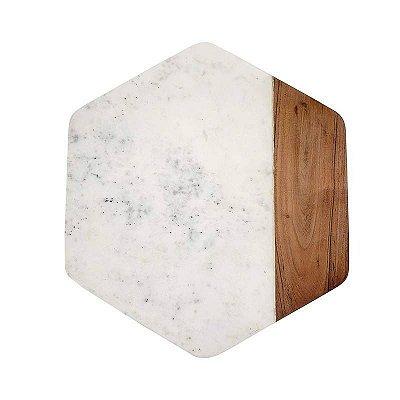 Tábua mármore e madeira hexagonal