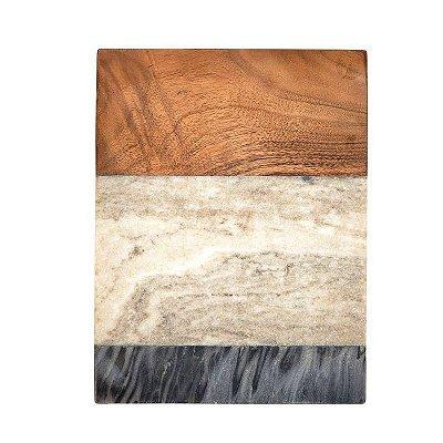 Tábua dois mármores e madeira retangular