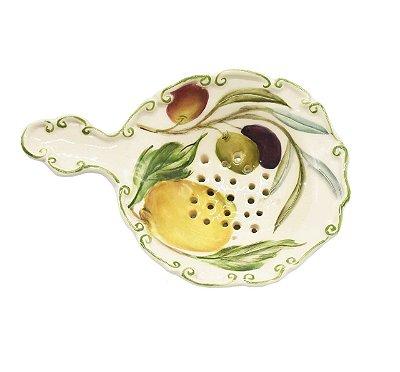 Mini peneira com desenho de limões e azeitona - sob encomenda
