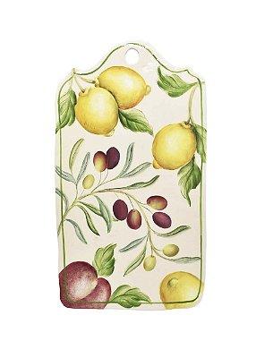 Tábua de cerâmica M com desenho de frutas - sob encomenda