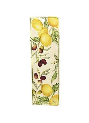 Tábua de cerâmica P para frios com desenho de limões e azeitonas - sob encomenda