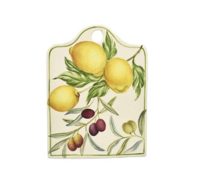 Mini tábua de cerâmica com desenho limões e azeitonas - sob encomenda