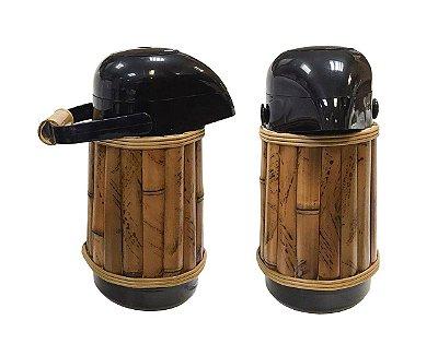 Garrafa térmica preta revestida bambu P