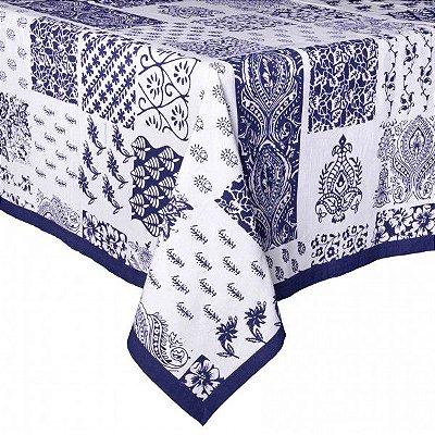 Toalha de mesa azulejos azul e branco 1,80 x 3m