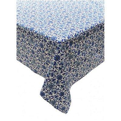 Toalha de mesa floral azul e branco redonda 2m