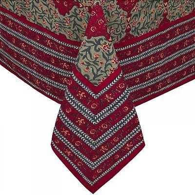 Toalha de mesa indiana vermelha e verde 1,80 x 1,80m