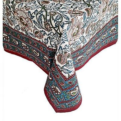 Toalha de mesa floral indiano 1,80 x 1,80m
