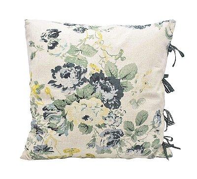 Almofada linho floral verde Zanatta Casa