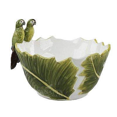 Bowl folha de banana G com casal mini arara