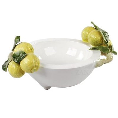 Bowl Kenoa com pé branco P com dois galhos de limões Zanatta