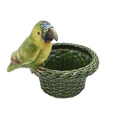 Cachepot cestaria com borda larga verde e papagaio Zanatta