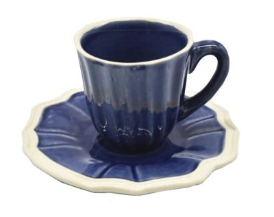 Xícara de café casual denim com borda faiança